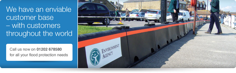 environment agency deploy floodstop - flood defence barrier