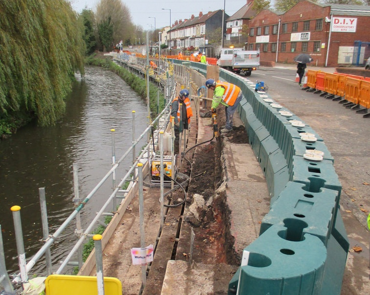 flood barrier during construction