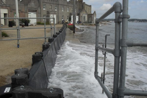 Tidal protection using Floodstop temporary flood barriers at Brownsea Island
