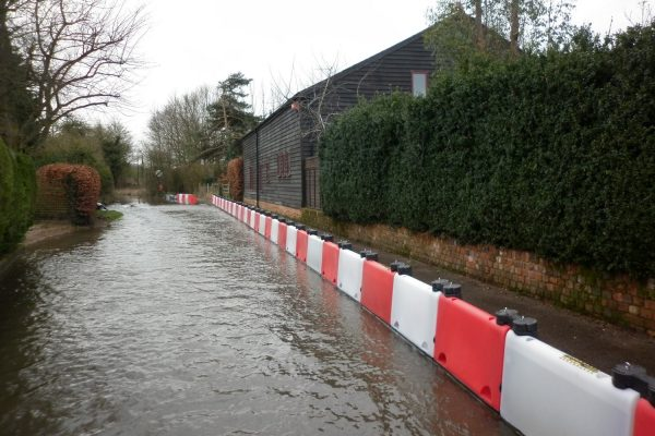 Floodstop temporary flood barrier defences in place